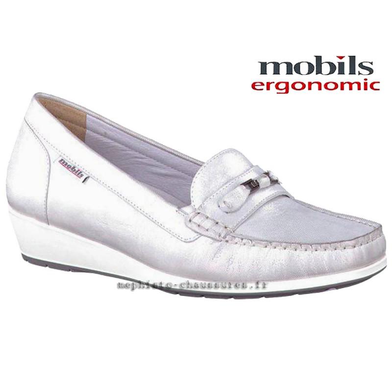 chaussures Femme MOBILS de Mephisto NORETTE Blanc cuir brillant 21336