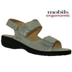 SANDALE FEMME MEPHISTO Chez www.mephisto-chaussures.fr Mobils GETHA Gris reptile cuir sandale