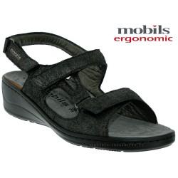 Sandale Méphisto Mobils JASMINE Noir nubuck brillant sandale