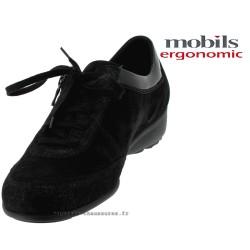 Sabrina Noir cuir lacets