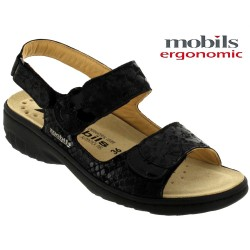 mephisto-chaussures.fr livre à Paris Lyon Marseille Mobils GETHA Noir cuir sandale