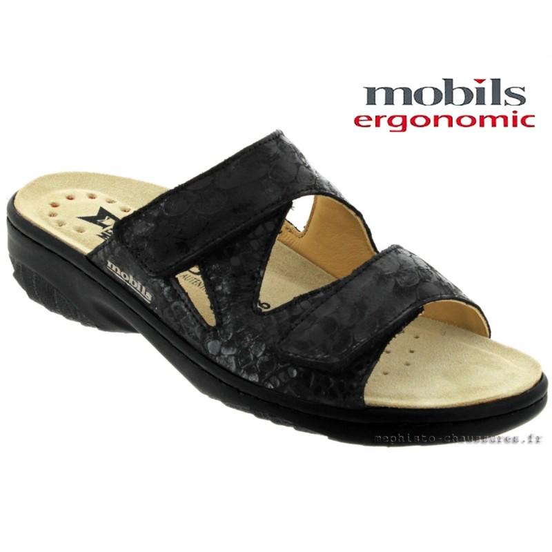 Mobils By Mephisto Geva Noir cuir - Chaussures Mules Femme