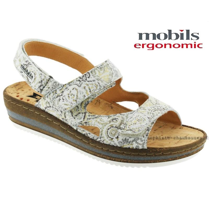 Mobils Laura Blanc cuir sandale
