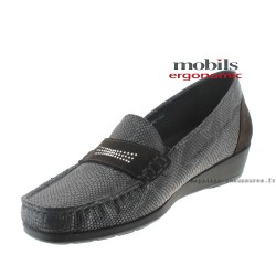 Mobils NELLY Gris cuir mocassin