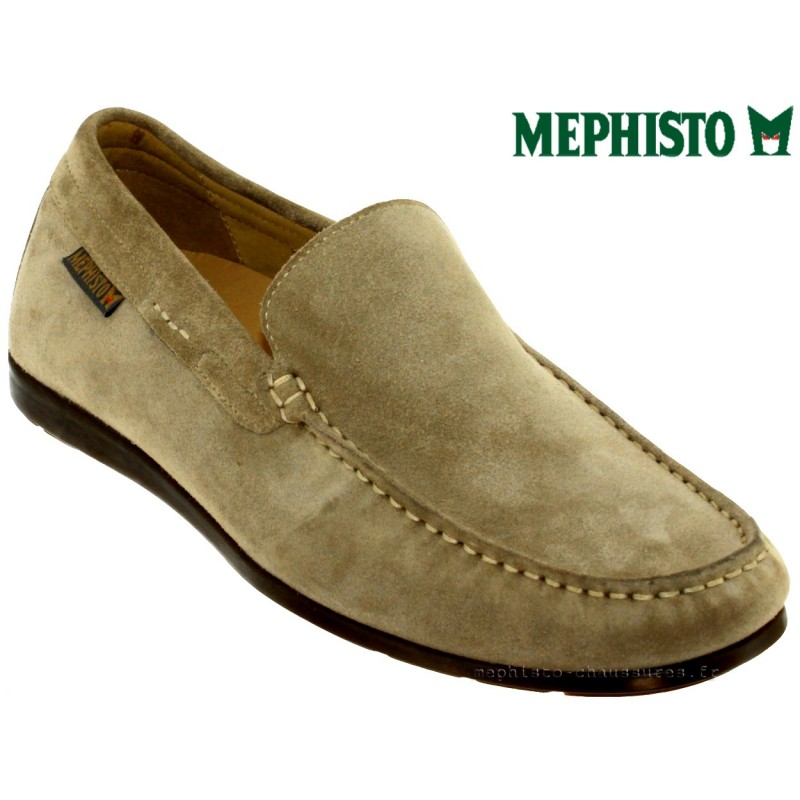 Mephisto ALGORAS Taupe Velours - Chaussures Mocassins Homme