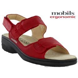 mephisto-chaussures.fr livre à Paris Mobils GETHA Rouge cuir sandale