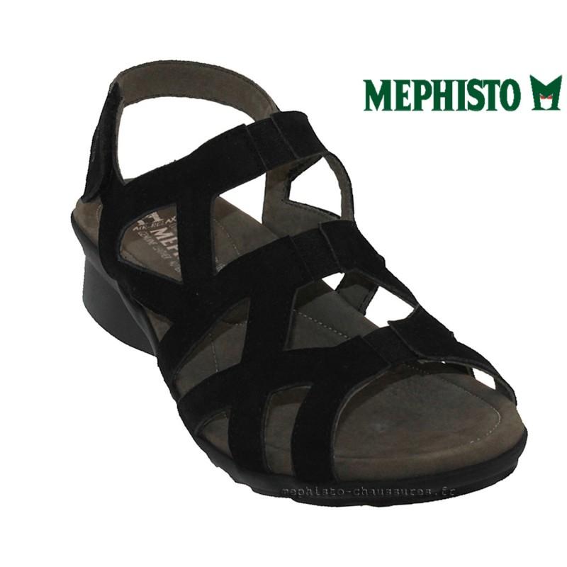 Mephisto Pamela Noir nubuck - Chaussures Sandale Femme