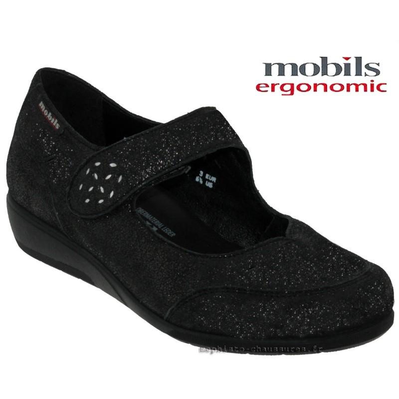 Mobils by Mephisto Janis Noir cuir ballerine