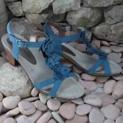 MEPHISTO Femme Sandale CLESIA Bleu nubuck 6483