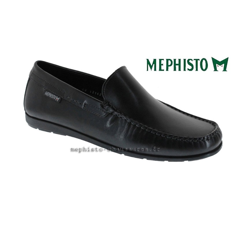 MEPHISTO Homme Mocassin ALGORAS Noir cuir lisse 9591